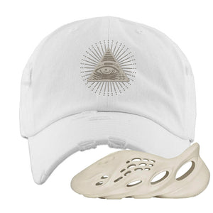 Yeezy Foam Runner Sand Distressed Dad Hat | All Seeing Eye, White