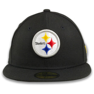 Steelers black on black grey bottom fitted hat | Grey bottom team headwear |59FIFTY (5950) FITTED CAP | BLACK