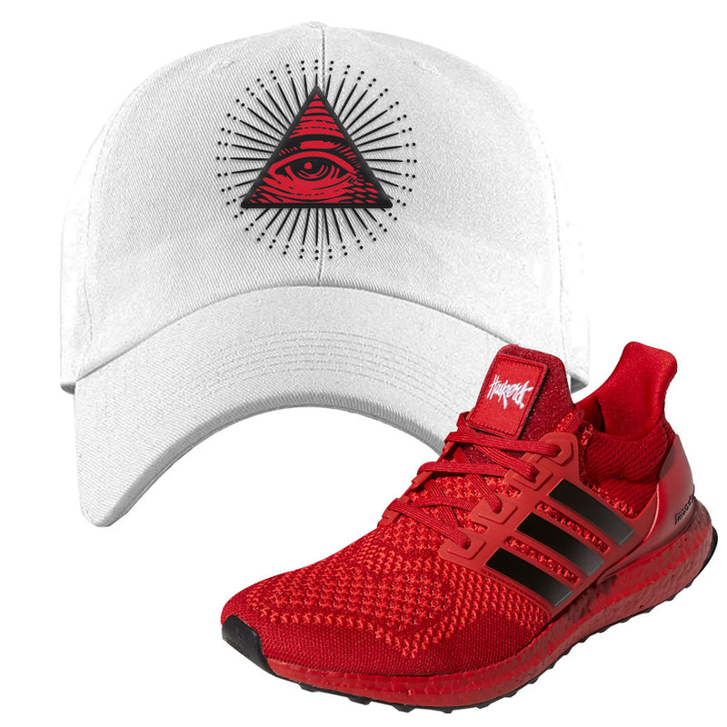 Ultra Boost 1.0 Nebraska Dad Hat | All Seeing Eye, White