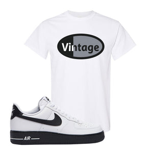 Air Force 1 Low White Black T Shirt | White, Vintage Oval