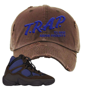 Yeezy 500 High Tyrian Distressed Dad Hat | Dark Gray, Trap To Rise Above Poverty