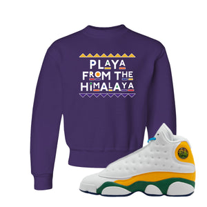 Playa From the Himalaya Deep Purple Kid's Crewneck Sweatshirt to match Air Jordan 13 GS Playground Kids Sneakers