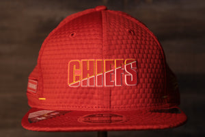 Chiefs 2020 Training Camp Snapback Hat | Kansas City Chiefs 2020 On-Field Red Training Camp Snap Cap the front of this chiefs hats has the chiefs name on it