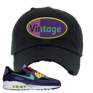 Air Max 90 Cheetah Distressed Dad Hat | Vintage Oval, Black