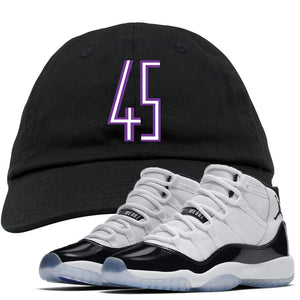 The Jordan 11 Concord 45 sneaker matching dad hat perfectly pairs up with the Jordan 11 Concord 45 sneakers