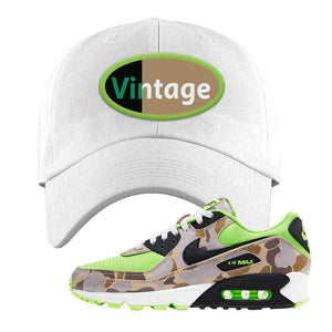 Air Max 90 Duck Camo Ghost Green Dad Hat | White, Vintage Oval