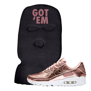 Air Max 90 WMNS 'Medal Pack' Rose Gold Sneaker Black Ski Mask | Winter Mask to match Nike Air Max 90 WMNS 'Medal Pack' Rose Gold Shoes | Got Em