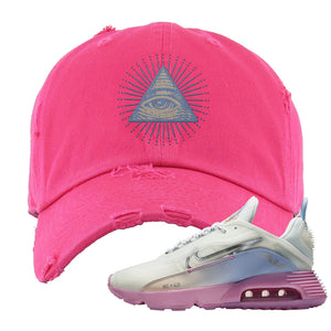 Air Max 2090 Airplane Travel Distressed Dad Hat | All Seeing Eye, Pink