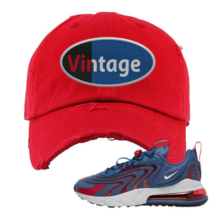 Air Max 270 React ENG Mystic Navy Distressed Dad Hat | Vintage Oval, Red