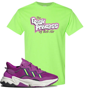 Ozweego Vivid Pink Sneaker Neon Green T Shirt | Tees to match Adidas Ozweego Vivid Pink Shoes | Fresh Princess of Bel Air