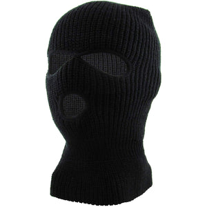 the black 3 hole ski mask features 3 holes, two for the eyes and one for the mouth