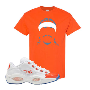 Question Low Vivid Orange T-Shirt | Headband Corn Rows, Orange