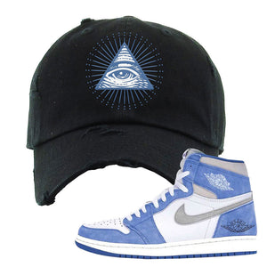 Air Jordan 1 High Hyper Royal Distressed Dad Hat | All Seeing Eye, Black