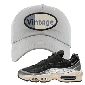 3M x Nike Air Max 95 Silver and Black Dad Hat | Vintage Oval, Light Gray