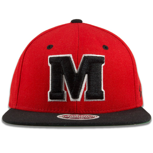 University of Maryland Red on Black Snapback Hat