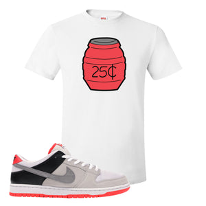 Nike SB Dunk Low Infrared Orange Label Quarter Water White T-Shirt To Match Sneakers