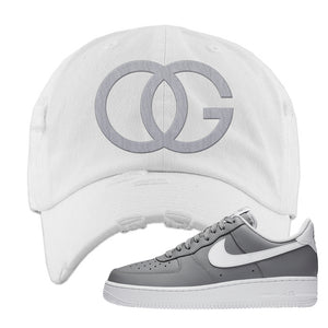 Air Force 1 Low Wolf Grey White Distressed Dad Hat | White, OG