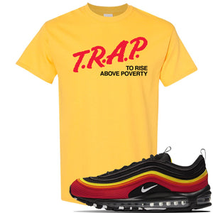 Air Max 97 Black/Chile Red/Magma Orange/White Sneaker Daisy T Shirt | Tees to match Nike Air Max 97 Black/Chile Red/Magma Orange/White Shoes | Trap to Rise Above Poverty
