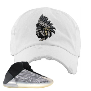 Yeezy Quantum Distressed Dad Hat | White, Indian Chief