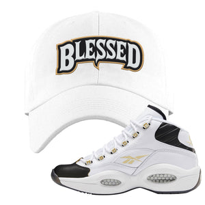 Question Mid Black Toe Sneaker White Dad Hat | Hat to match Reebok Question Mid Black Toe Shoes | Blessed Arch
