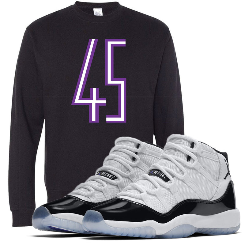 The jordan 11 concord 45 sneaker matching crewneck sweatshirt matches perfectly with the Jordan 11 Concord 45s