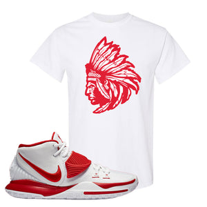 Kyrie 6 White University Red T Shirt | Indian Chief, White