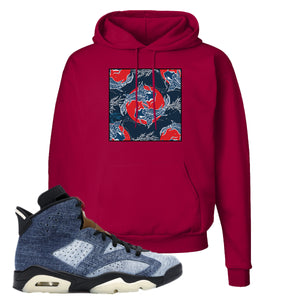 Jordan 6 Washed Denim Hoodie | Deep Red, Carp Pattern