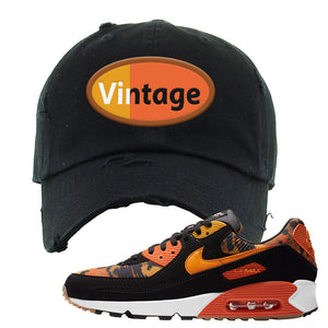 Air Max 90 Orange Camo Distressed Dad Hat | Vintage Oval, Black