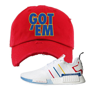 NMD R1 Olympic Pack Distressed Dad Hat | Red, Got Em