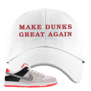Nike SB Dunk Low Infrared Orange Label Make Dunks Great Again White Dad Hat To Match Sneakers