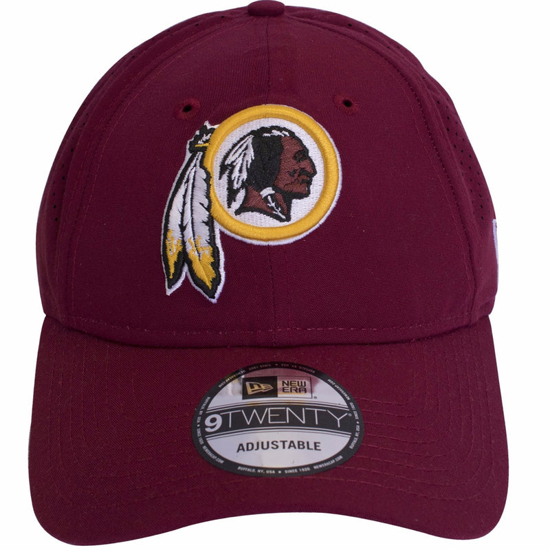 on the front of the washington redskins nfl equipment sideline dad hat is the redskins logo embroidered in yellow, brown, white, and black