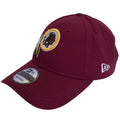 on the left side of the washington redskins sideline dad hat is the new era logo embroidered in white