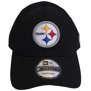 on the front of the pittsburgh steelers on field sideline dad hat is the steelers logo embroidered in black, white, silver, yellow, red and blue