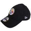 on the left side of the pittsburgh steelers on field sideline dad hat is the new era logo embroidered in white