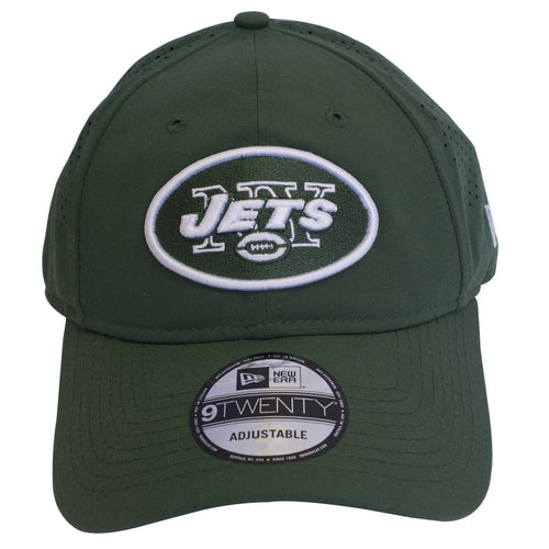 The New York Jets logo is embroidered on the front of a dark green dad hat e87acea5f34