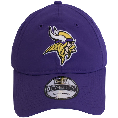 on the front of the minnesota vikings on field dad hat is the vikings logo embroidered in purple, yellow, white and black
