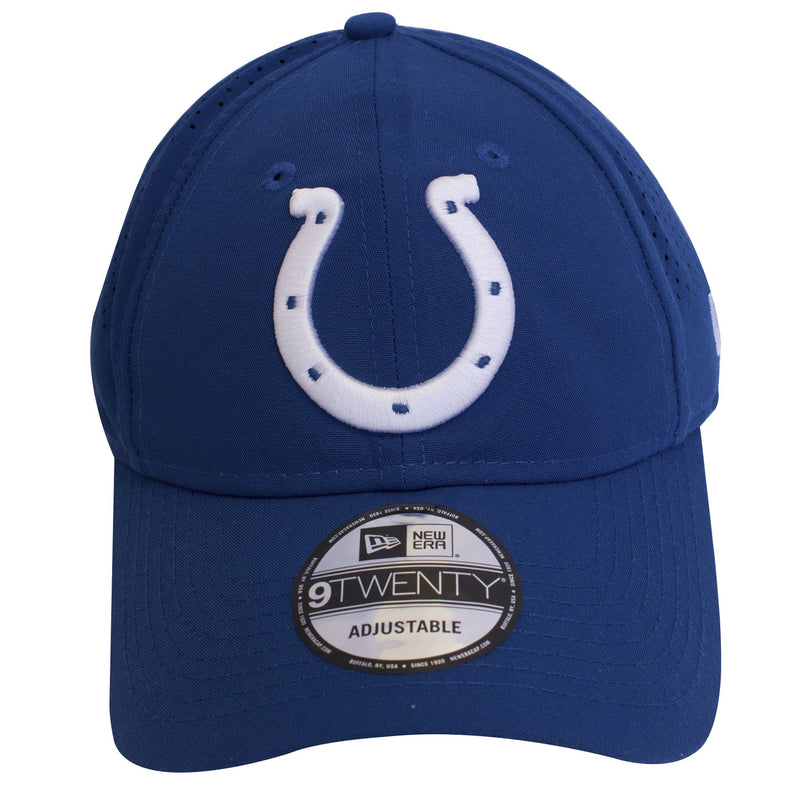 Large Indianapolis Colts logo heavily embroidered on the front of a royal blue dad hat.