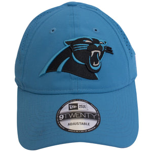 Carolina Panthers logo is embroidered on the front of this light blue unstructured dad hat cap. Light blue color-match bill is bent.
