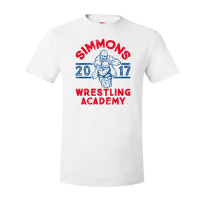 Simmons Wrestling Academy T-Shirt | Ben Simmons Wrestling Academy White T-Shirt the front of this shirt has the ben simmons wrestling design on it