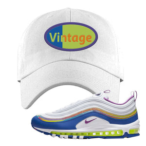 Air Max 97 'Easter' Sneaker White Dad Hat | Hat to match Nike Air Max 97 'Easter' Shoes | Vintage Oval