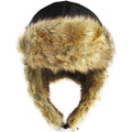 Black Vegan Fur Ushanka Aviator Eskimo Trapper Hat
