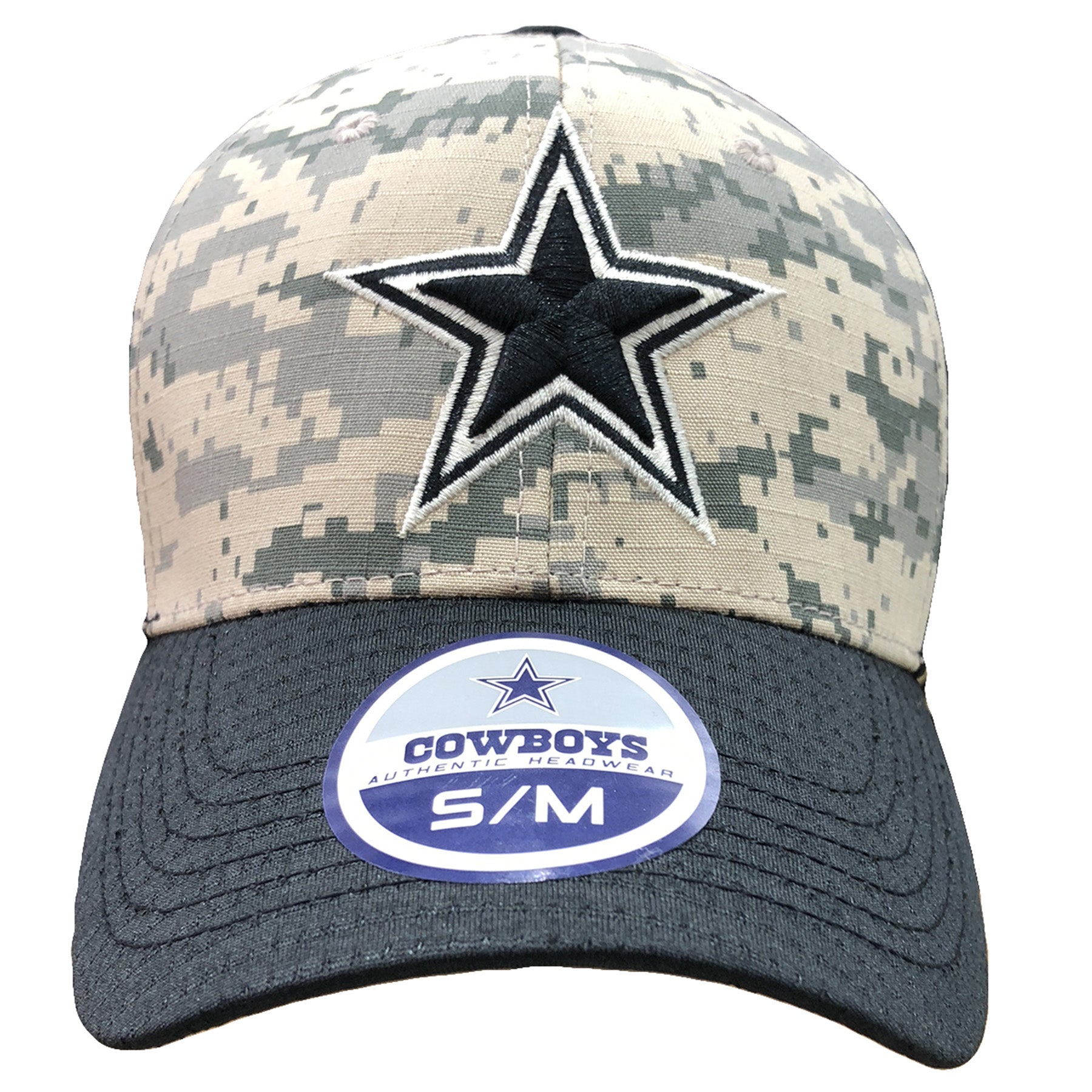 Embroidered on the front of the Dallas Cowboys digital camouflage stretch  fit cap is the Dallas bff17a77c