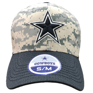 Embroidered on the front of the Dallas Cowboys digital camouflage stretch fit cap is the Dallas Cowboys logo embroidered in navy blue and white