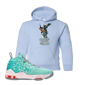 Lebron 17 South Beach Kids Pullover Hoodie | Dont Hate the Playa, Light Blue