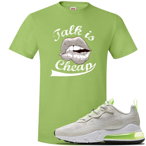 Air Max 270 React Ghost Green Sneaker Lime Green T Shirt | Tees to match Nike Air Max 270 React Ghost Green Shoes | Talk Is Cheap