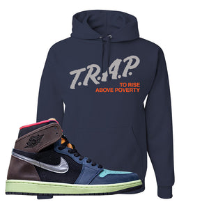 Air Jordan 1 Retro High OG 'Bio Hack' Hoodie | Navy, Trap To Rise Above Poverty