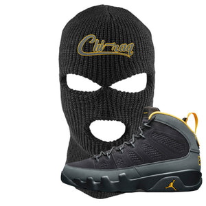 Air Jordan 9 Charcoal University Gold Ski Mask | Chiraq, Black