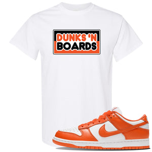 "Foot Clan Nike SB Dunk Low ""Syracuse"" Dunks N Board White T Shirt  Hook up your sneakers with this SB Dunk Low ""Syracuse"" Sneaker White T Shirt. The Dunks N Board logo on the front of this SB Dunk Low ""Syracuse"" Sneaker White T Shirt will perfectly match your sneakers. Perfect your sneaker matching outfit now!"