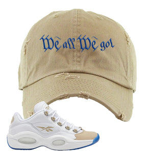 Reebok Question Low Oatmeal Distressed Dad Hat | White, Trap To Rise Above Poverty