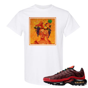 printed on the front of the air max plus sunburst sneaker matching white tee shirt is the lady fruit logo